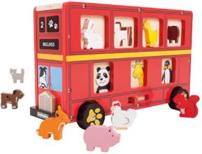Röd buss med djur