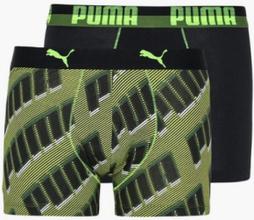 Puma Puma Basic Boxer 2P Aop Wording Boxershorts Black Grey