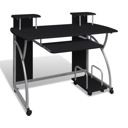 vidaXL Tietokonepöytä ulosvedettävällä näppäimistötasolla musta