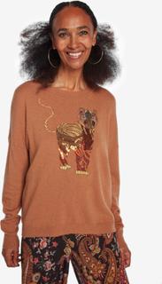 Viscose, wool and cashmere embroidered jumper - ORANGE - L