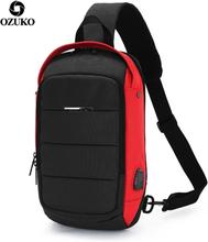 OZUKO Multifunction Fashion Waterproof Crossbody Bag Travel Men Chest bags External USB interface Single shoulder bag Chest Pack