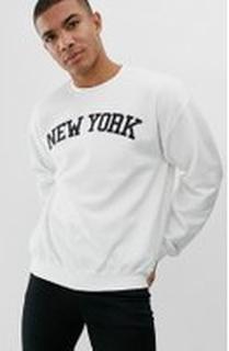 New Look New York print sweat in white - White