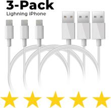 3-pack - Lightning laddare iPhone X/8/7/6S/6/5S/SE iOS12 1 Meter