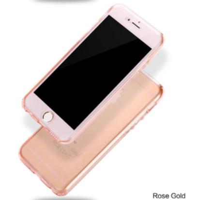 iPhone 8 PLUS - Dubbelsidigt silikonfodral med TOUCHFUNKTION (ROSA)