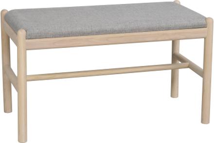 Milford bänk vitpigmenterad ek/grått tyg 80 x 40 cm