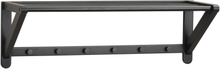 Metro hatthylla svart ek/svart metall 26 cm hög - 80 cm bred