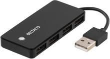 DELTACO USB 2.0 hubi 4xTyyppi A naaras musta