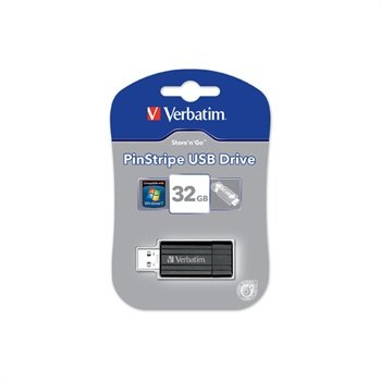 Verbatim PinStripe 32GB USB Stick - Sort