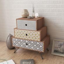 vidaXL Sängbord med 3 lådor brun