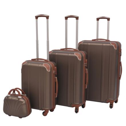 vidaXL Neljäosainen kovapintainen matkalaukkusarja Kahvi