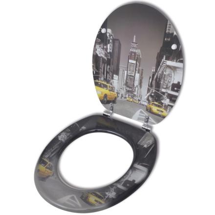 vidaXL Toiletbræt med MDF Låg New York Design