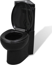 vidaXL WC Keramisk Toalettstol Hörn Svart