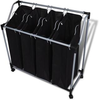 vidaXL Skittentøyskurv med fire poser svart grå