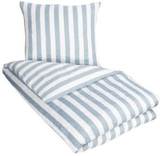 Sengetøy - 100% Bomullssateng - Nordic Stripe støvblått - Stripete sengetøy - 150x210 cm