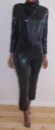 Svartmetalic catsuit, S