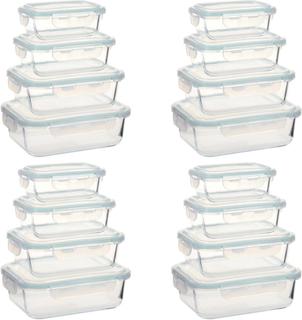 vidaXL opbevaringsbokse til mad glas 16 stk.