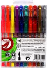 Auchan - Długopisy żelowe, mix 10 kolorów