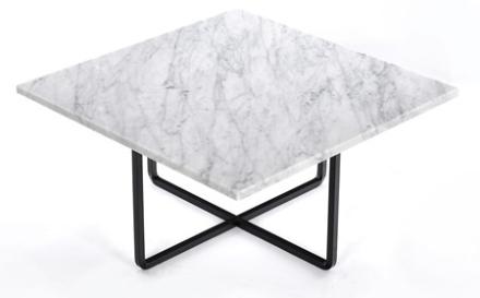 OX DENMARQ Ninety 60x60 soffbord - Carrara/svartlackerad metallstomme