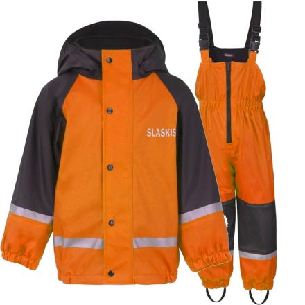 Slaskis Fodrat Pu Regnställ Barn 80-120 cl Orange, Slaskis