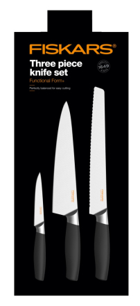 Fiskars Functional Form+ Knivsett Brødkniv + Stor Kokkekniv + Grønnsakskniv