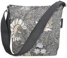 Small Shoulder Bag Black Flower Linen