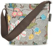 Small Shoulder Bag Grey Flower Linen