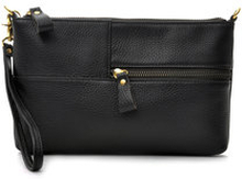 Envelope Bag Black Grained Leather