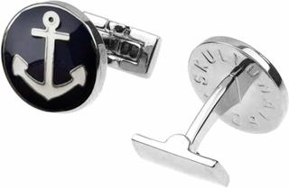 Manschettknappar Anchor silver blå/vit