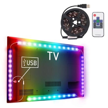 USB-driven TV-belysning / LED-slinga med fjärr - 12W 60 LEDs SMD 5050 RGB 1M