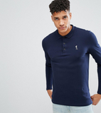 Religion Tall Long Sleeve Pique Polo - Navy