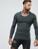Religion Muscle Fit Long Sleeve T-Shirt - Grey