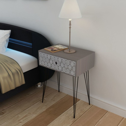 vidaXL Sängbord med 1 låda rektangulär grå