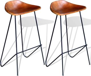 vidaXL Barstol 2 st äkta läder brun