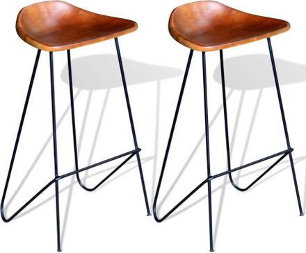 vidaXL Barstolar 2 st svart och brun äkta läder