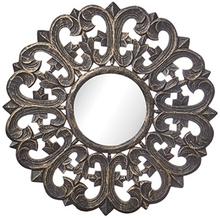 Carve rund spegel 60 cm - Antik träfärg