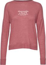 Long Sleeve Cozy Logo Tee Strikket Genser Rosa Abercrombie & Fitch