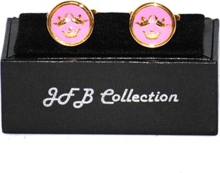 Manschettknappar tre kronor guld/rosa