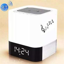 Mini light bluetooth højtaler m. AUX, SD kort, USB indgang og ur - Hvid