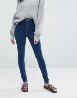 Noisy May high waist skinny jean in blue - Blue