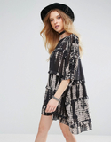 Religion Symbolic Tunic Dress - Black
