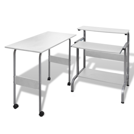 vidaXL Valkoinen Tietokonepöytä Säädettävä Työasema