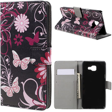Moberg Lær etui med kortspor for Samsung Galaxy A5 SM-A510F (2016) - Floral Butterflies