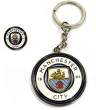 Manchester City Keychain Nyckelring + Badge Man City