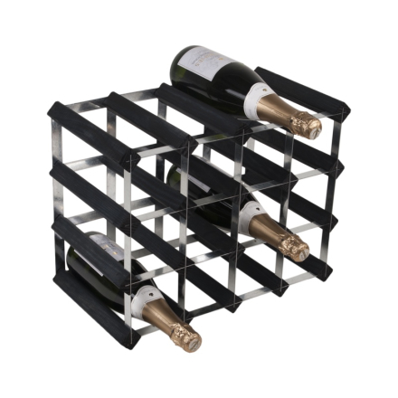 RTA Vinställ 16 flaskor svart furu