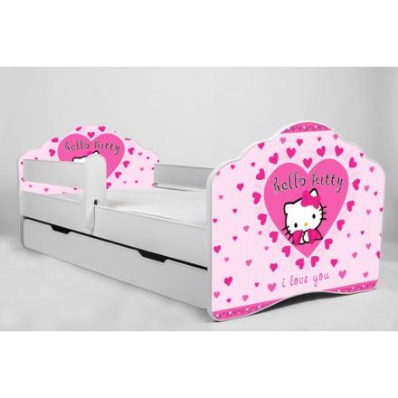 KOBI Barnsäng - Fala Med Madrass Och Skyddskant - Hello Kitty - 140 x 70 Cm