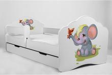 KOBI Barnsäng - Fala Med Madrass Och Skyddskant - Elephant - 160 x 80 Cm