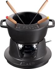 Staub Fondue set 16 cm svart med blank insida