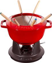 Staub Fondue set 20 cm röd med creme insida