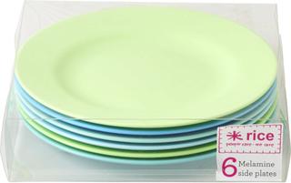 Rice Desserttallerkener Melamin 6 stk Blå & Grønn