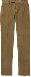 Slim-fit Garment-dyed Stretch-cotton Corduroy Trousers - Brown